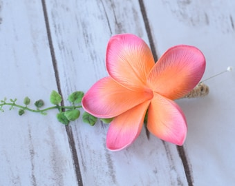 Coral Plumeria Tropical Wedding Boutonniere - Wedding Boutonnieres Your Choice of Ribbon