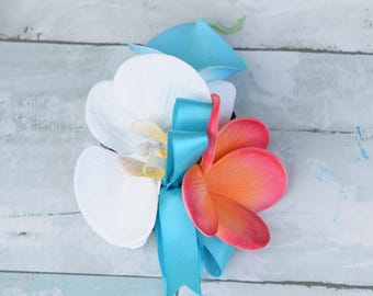 Coral Turquoise Plumeria and Calla Lily Orchid Tropical Wedding Corsage - Wedding Boutonnieres - Beach Tropical Wedding