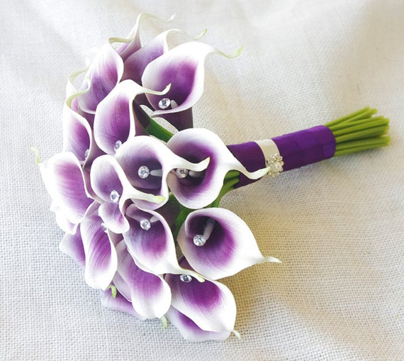 Silk Flower Wedding Bouquet Purple Heart Calla Lilies | Etsy