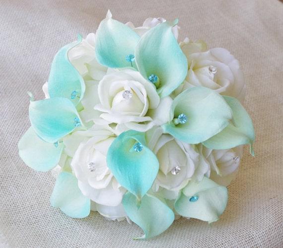 Silk flower wedding bouquet aqua mint blue calla lilies and etsy image 0 mightylinksfo