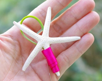Beach Starfish Wedding Boutonniere - Beach Wedding Flowers - Your Choice of Accent Color