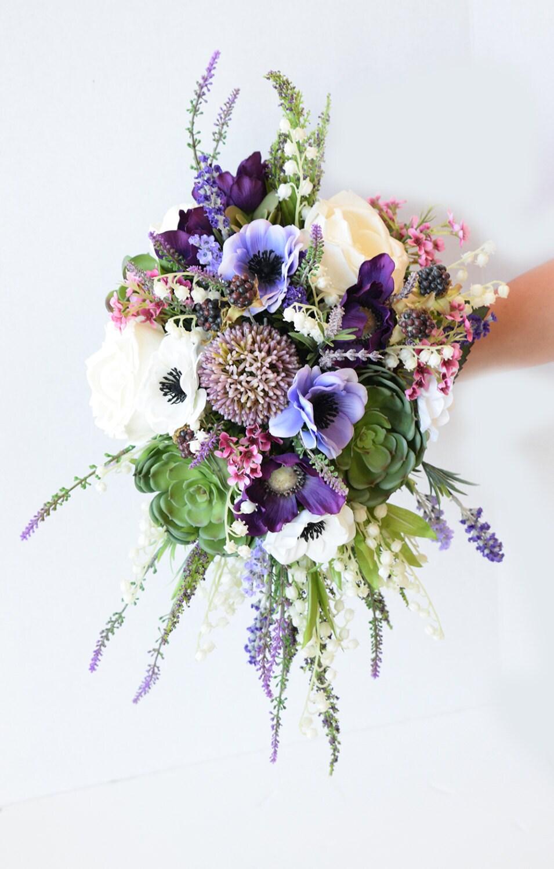 Amazing cascade plum purple lilac wedding succulent anemones etsy zoom izmirmasajfo