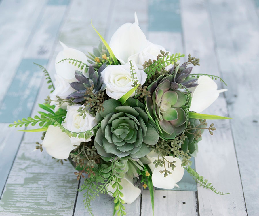 Sukkulenten Hochzeit Bouquet weiße Rosen Sukkulenten und | Etsy