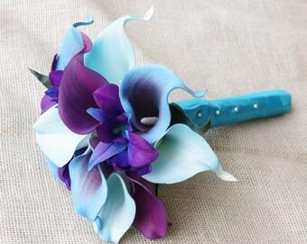 Silk Flower Wedding Bouquet - Purple Blue Calla Lilies and Orchids Natural Touch Silk Bridal Bouquet