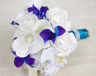 Silk Wedding Bouquet with Off White Roses, Blue Purple and White Orchids, and Callas - Natural Touch Silk Flower Bouquet - Teal Turquoise