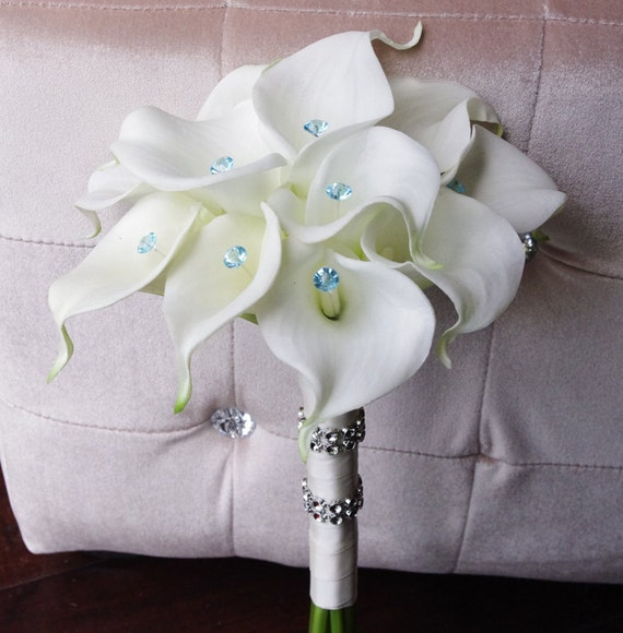Silk Wedding Bouquet With Calla Lilies Off White Natural Etsy