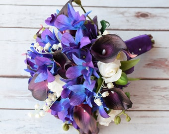 Wedding Bouquet with Plum Callas, Blue Purple Orchids, Off White Roses - Silk Natural Touch Silk Flower Bouquet Turquoise