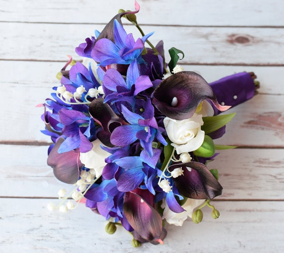 Wedding Bouquet with Plum Callas Blue Purple Orchids Off | Etsy