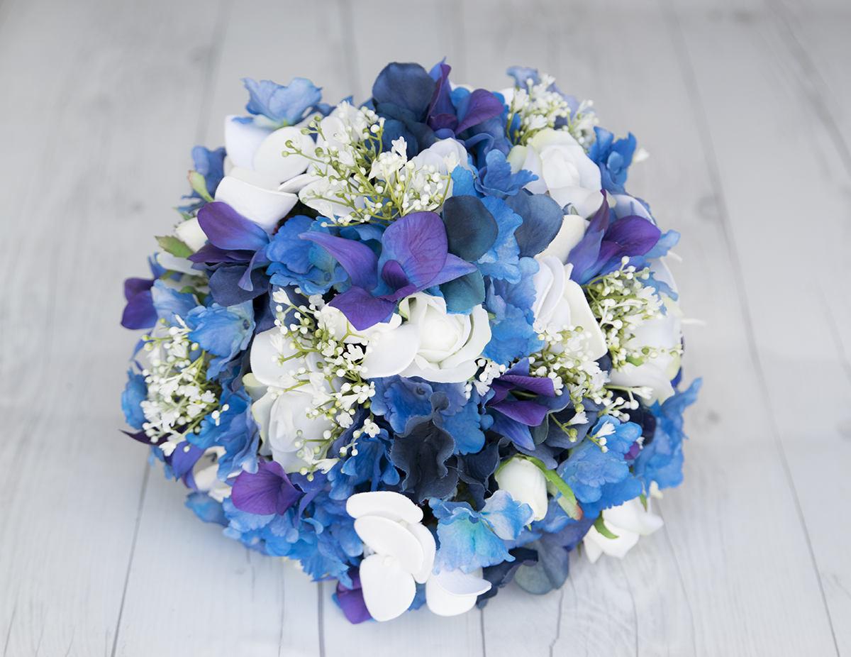 Seide Hochzeit Bouquet lila blaue Orchideen aus weißen | Etsy