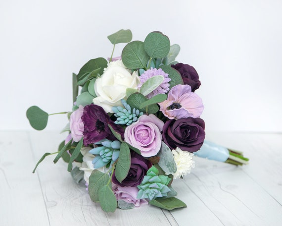 ideas for flower vase fillers with natural green flower.htm purple bouquet boho bouquet rustic bouquet succulent etsy  purple bouquet boho bouquet rustic