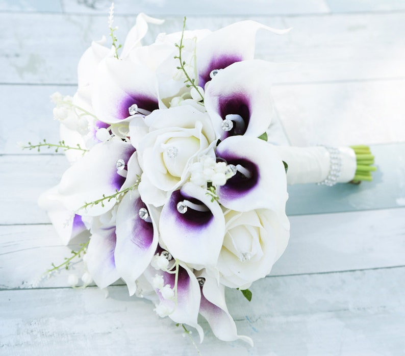 Crystals Wedding Bouquet Off White Roses and Purple Heart Calla Lilies Silk Flower Bride Bouquet