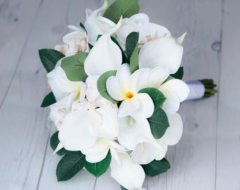 Ivory Silk Wedding Bouquet with Off White Callas, Orchids and Plumerias - Real Touch Silk Flower Bride Bouquet - Almost Fresh