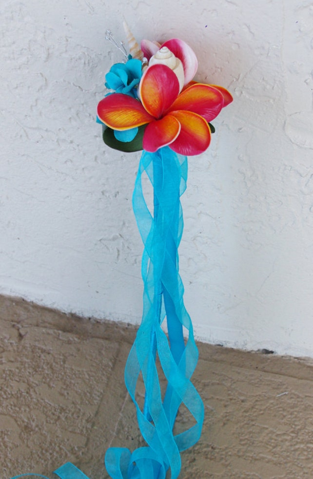 Beach Plumeria Flower Girl Wedding Princess Wand - Costumes and Parties! Your Choice of Accent Color and Details