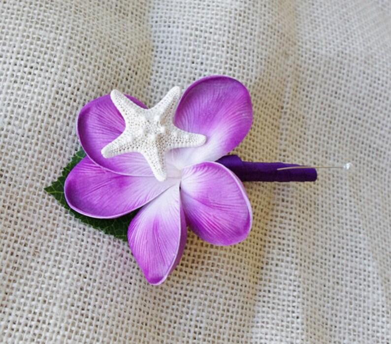 Starfish Boutonniere Silk Boutonniere Tropical Wedding Purple Boutonniere Silk Wedding Flowers Plumeria Boutonniere Purple Plumeria