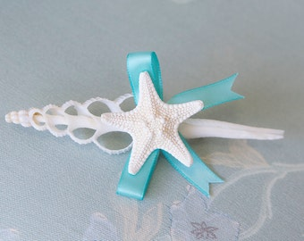 Beach Starfish and Seashell Wedding Boutonniere