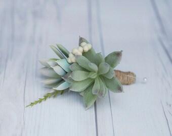 Silk Succulent Wedding Boutonniere  - 2 Succulents Berries and Green Sprays Groom Wedding Succulent Boutonniere