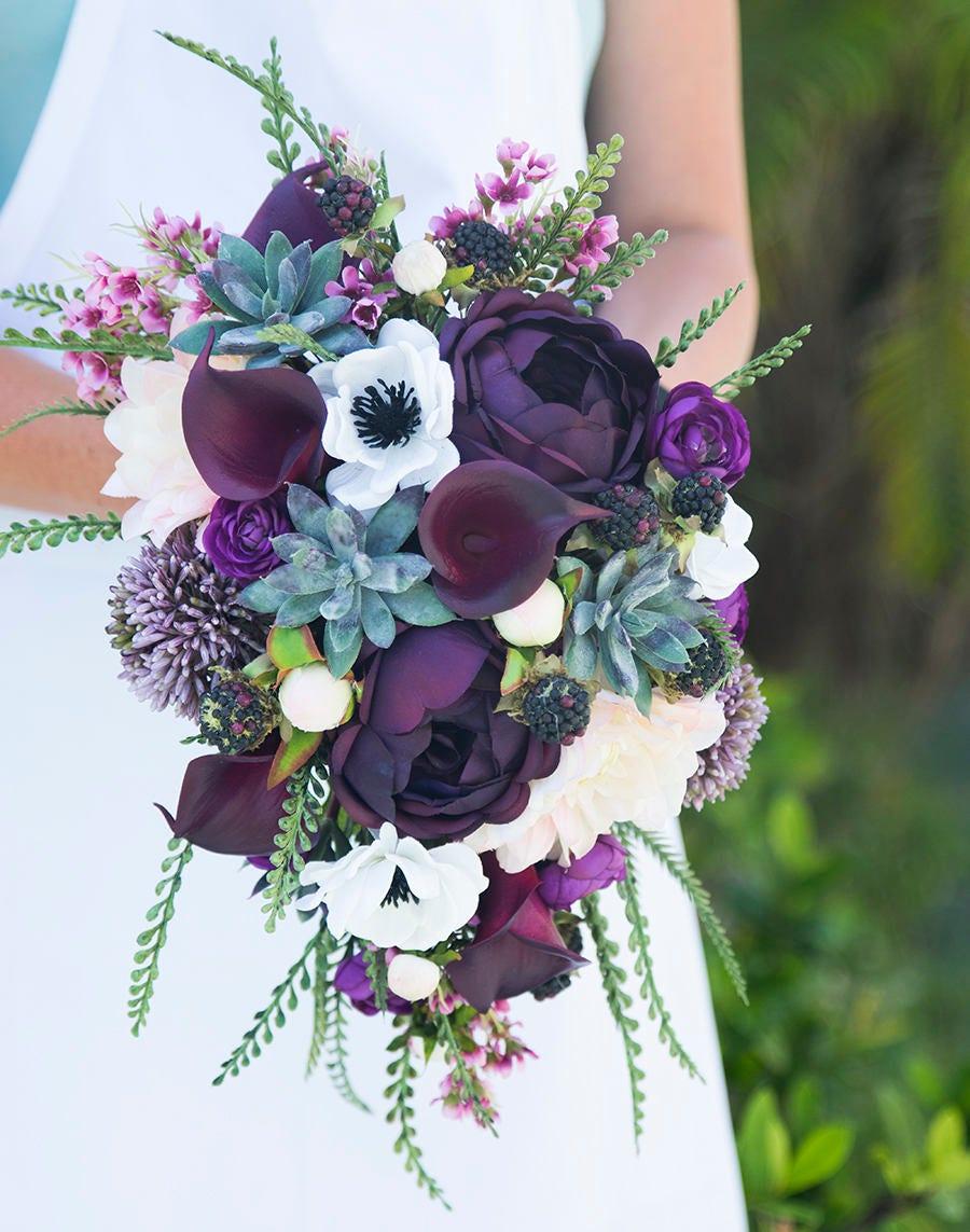 plantes grasses rustiques bouquet de mariage-violet prune | etsy