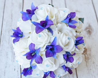 Silk Wedding Bouquet with Off White Roses, Blue Purple Orchids and Crystals - Natural Touch Silk Flower Bouquet - Teal Turquoise