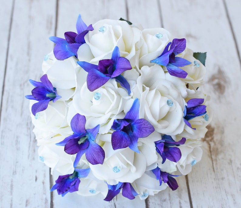 Silk Wedding Bouquet With Off White Roses Blue Purple Orchids And