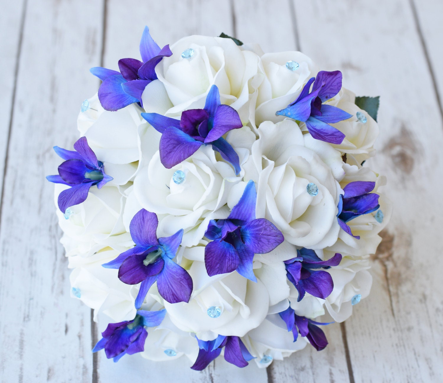 Silk wedding bouquet with off white roses blue purple orchids etsy silk wedding bouquet with off white roses blue purple orchids and crystals natural touch silk flower bouquet teal turquoise izmirmasajfo