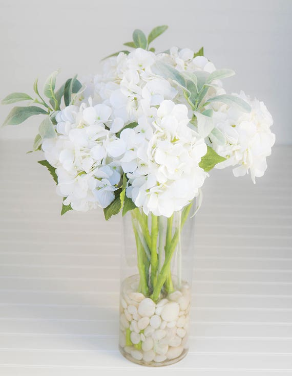 Silk Off White Hydrangeas Arrangement Centerpiece Glass Etsy