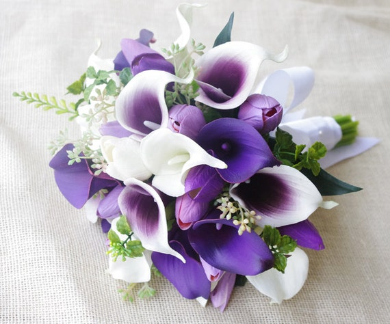 Wedding Bouquet Off White And Purple Heart Tulips And Calla