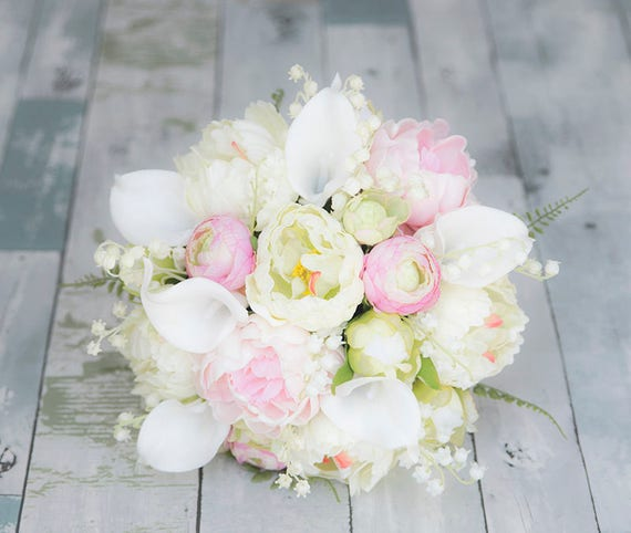 Real Touch Blush Pink Silk Wedding Bouquet Peonies And Calla Etsy