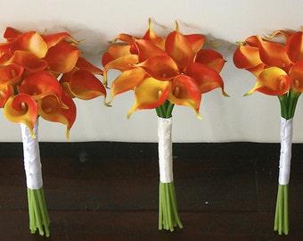 Silk Wedding Bouquet with Orange Calla Lilies - Natural Touch Callas Silk Bridal Flowers