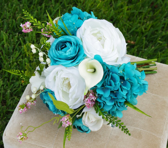 Doing Your Own Flowers For A Wedding: Wedding Teal Turquoise Natural Touch Roses Silk Flower