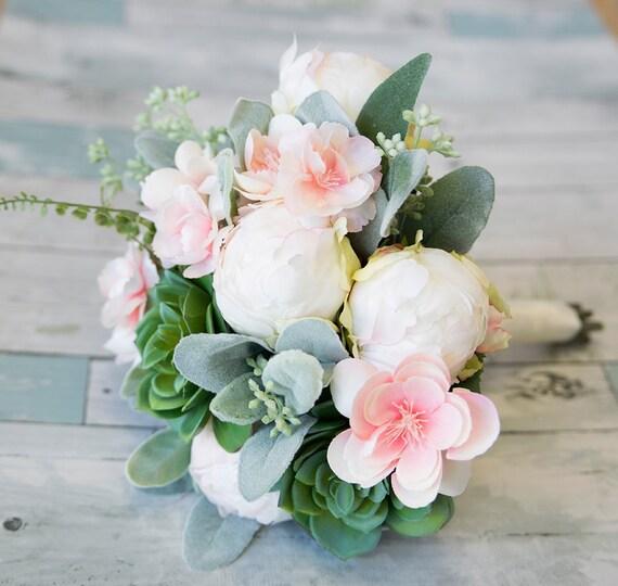 Blush Saftigen Brautstrauss Grun Grau Rosa Seide Und Erroten Etsy