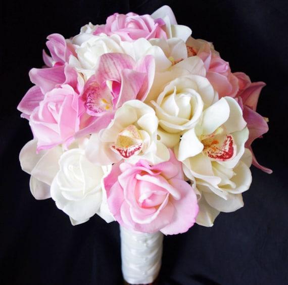 Rosa Naturlichen Touch Seide Rosen Brautstrauss Orchideen Und Etsy