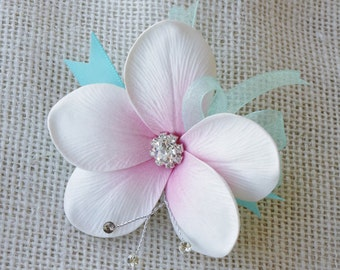 Plumeria Tropical Wedding Brooch Corsage - Wedding Boutonnieres Your Choice of Accent Color