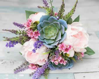AMAZING Blush Lilac Wedding Silk Succulent Wedding Bouquet - Peony Lavender Sprays Silk Flower Bridal Rustic Bouquet