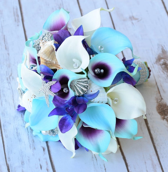 Purple Turquoise Blue Beach Brooch Silk Flower Wedding Bouquet | Etsy