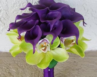 Wedding Purple Calla Lilies and Green Cymbidium Natural Touch Silk Orchids Flower Bride Bouquet