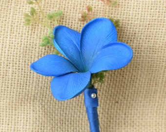 Royal Blue Plumeria Tropical Wedding Boutonniere - Wedding Boutonnieres Your Choice of Accent Color