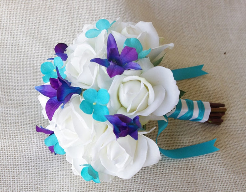 Silk Wedding Bouquet With Off White Roses Blue Purple And Etsy