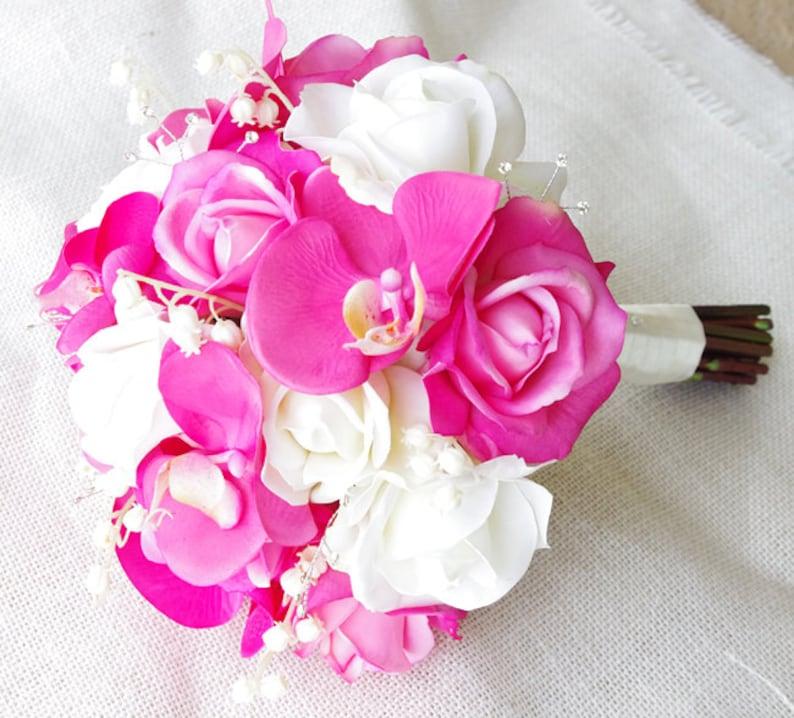 Bouquet Sposa Fucsia.Tocco Naturale Fucsia Orchidee E Rose Fiore Di Seta Bouquet Da Sposa Con Strass