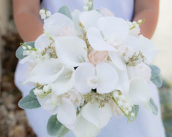 Lovely Blush Wedding Bouquet Off White and Gold Bridal Bouquet Silk Callas Roses Orchids and Lam's Ear Bride Bouquet