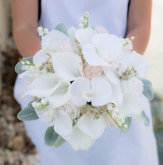 Schone Erroten Hochzeit Bouquet Aus Weiss Und Gold Brautstrauss Etsy