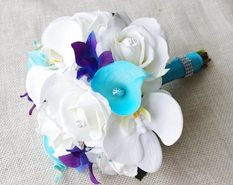 Silk Wedding Bouquet with Off White Roses, Blue Purple Orchids and Aruba Turquoise Callas - Natural Touch Silk Flower Small Bouquet