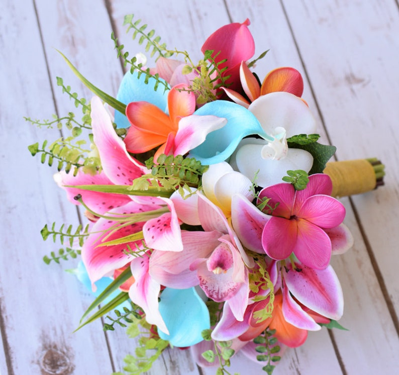 Coral And Pink Wedding Flowers: Beach Wedding Bouquet Tropical Bouquet Hot Pink Coral And