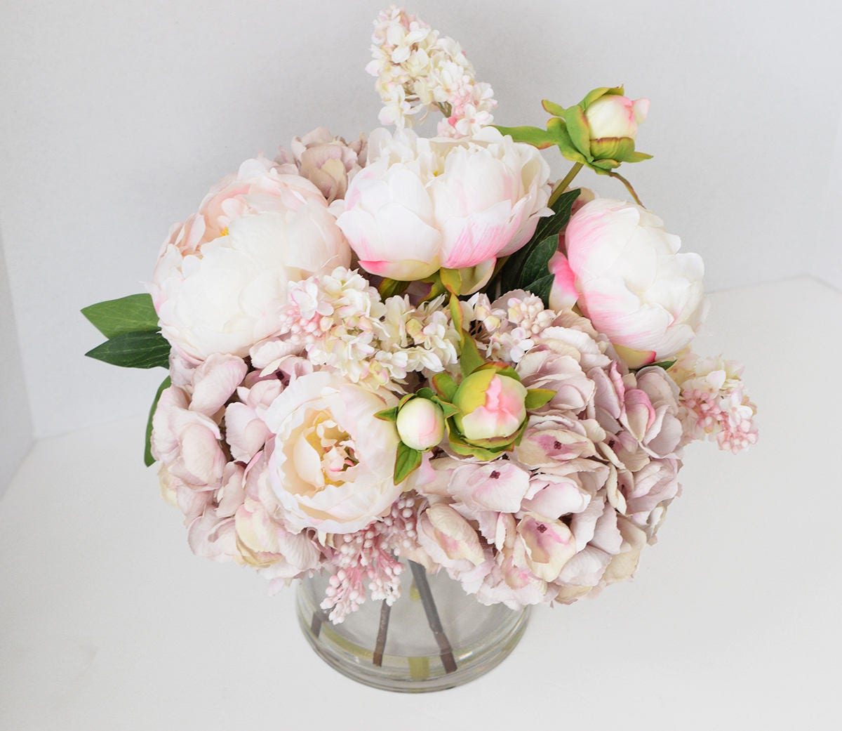 Pink Peonies And Hydrangeas Silk Flower Centerpiece Large Etsy