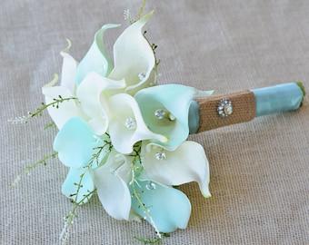 Silk Flower Wedding Bouquet - Mint Aqua Robbin's Egg or Aruba Blue Calla Lilies Natural Touch with Crystals and Greens Silk Bridal Bouquet