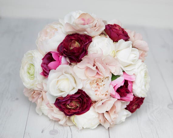 Peony Bouquet Silk Blush Pink Peonies Bridal Bouquet Burgundy Etsy