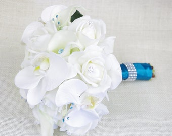 Silk Wedding Bouquet with Off White Roses, Orchids and Callas - Natural Touch Silk Flower Bride Bouquet - Teal Accents
