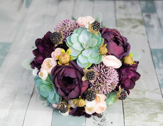 Silk Bouquet Rustic Bouquet Peach Bouquet Succulent Bouquet Lilac Bridal Boquuet Boho Bouquet Eucalyptus Bouquet Purple Bouquet