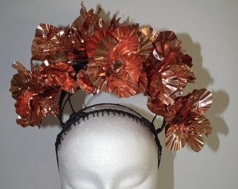 COPPER CITYLIGHTS art/copper crown/metal crown/ metal halo/statement crown/Designer/spring racing/couture hat/copper headpiece/Melbourne Cup