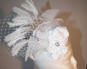 CLARISSA new white bridal wedding bride head piece head wear clip on romantic feathered hair net netting diamonte raw silk Watt Millinery
