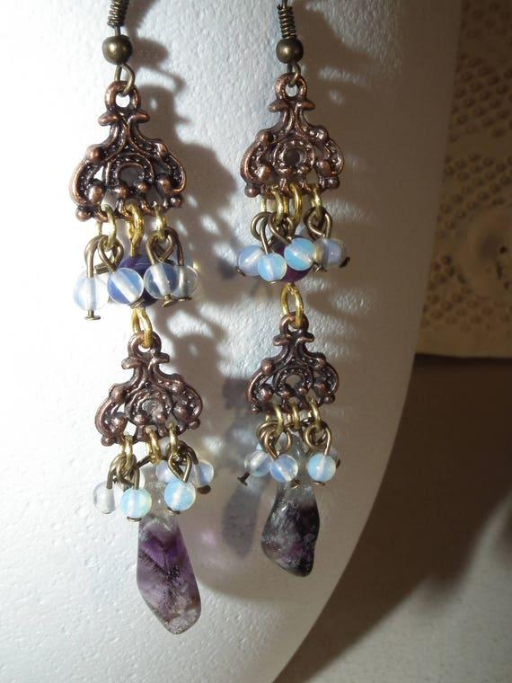 UK BOHO MASK FEATHER EARRINGS Bohemian Gypsy Jewellery Gift Idea Drama Theatre